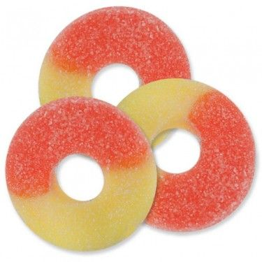 Albanese Peach Gummi Rings 45 Lb Bag Pink Candy