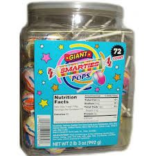 CeDe Giant Smartie Lollipops ~ 72 Count Tub