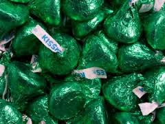 Hershey Green Kisses ~ 4.3lb Bag