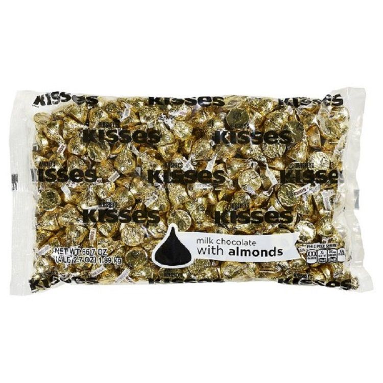 Hershey Gold Kisses With Almonds 41lb Bag Chocolate